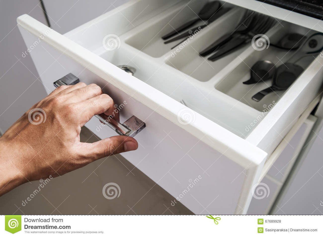 Hand Opening Drawer In The Kitchen Selective Focus Stock