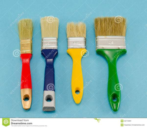 Hand Paint Brush Color Size Blue Stock - 32772091