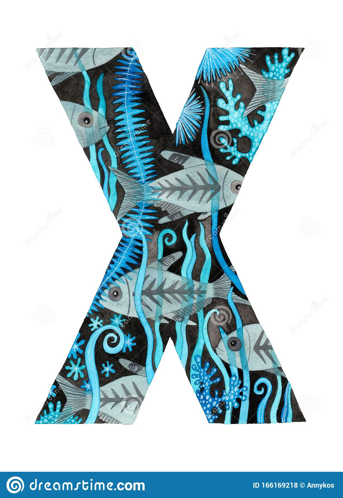 Hand Painted Letter X With X Ray Tetra Fish Stock