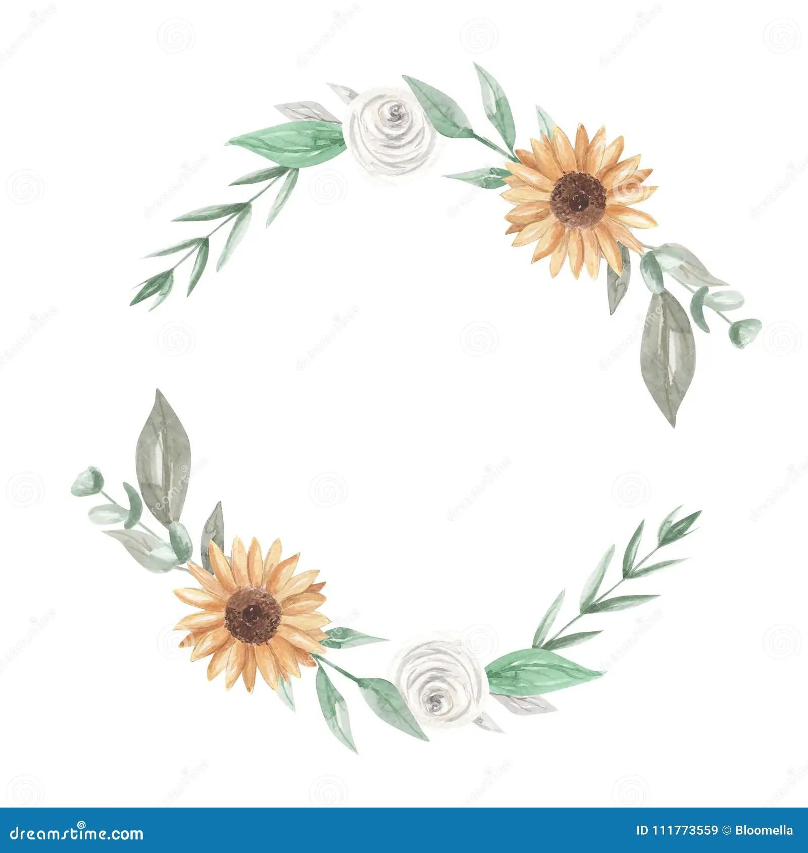 Wreath Sunflower Vector