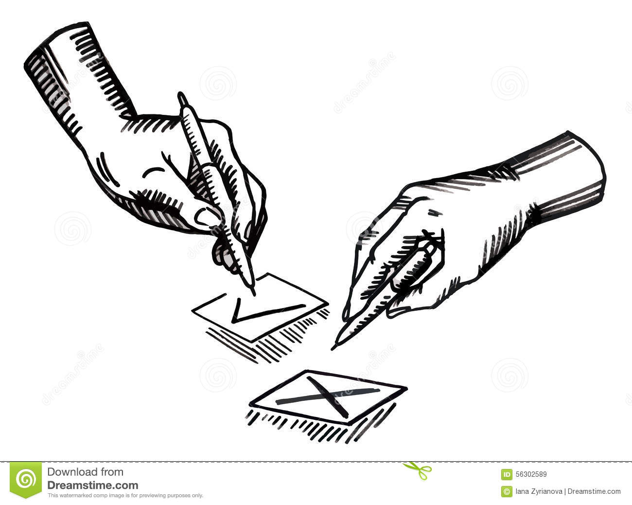 Hand With Pen And Check Boxes. Vector Illustration Stock