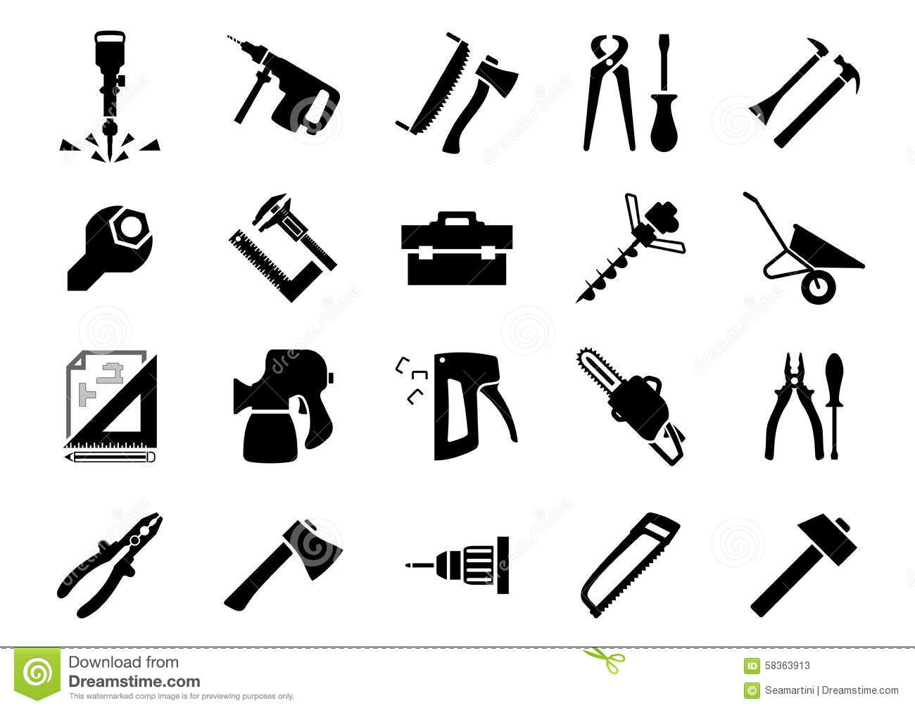 Hand And Power Tools Icons Stock Vector Illustration Of