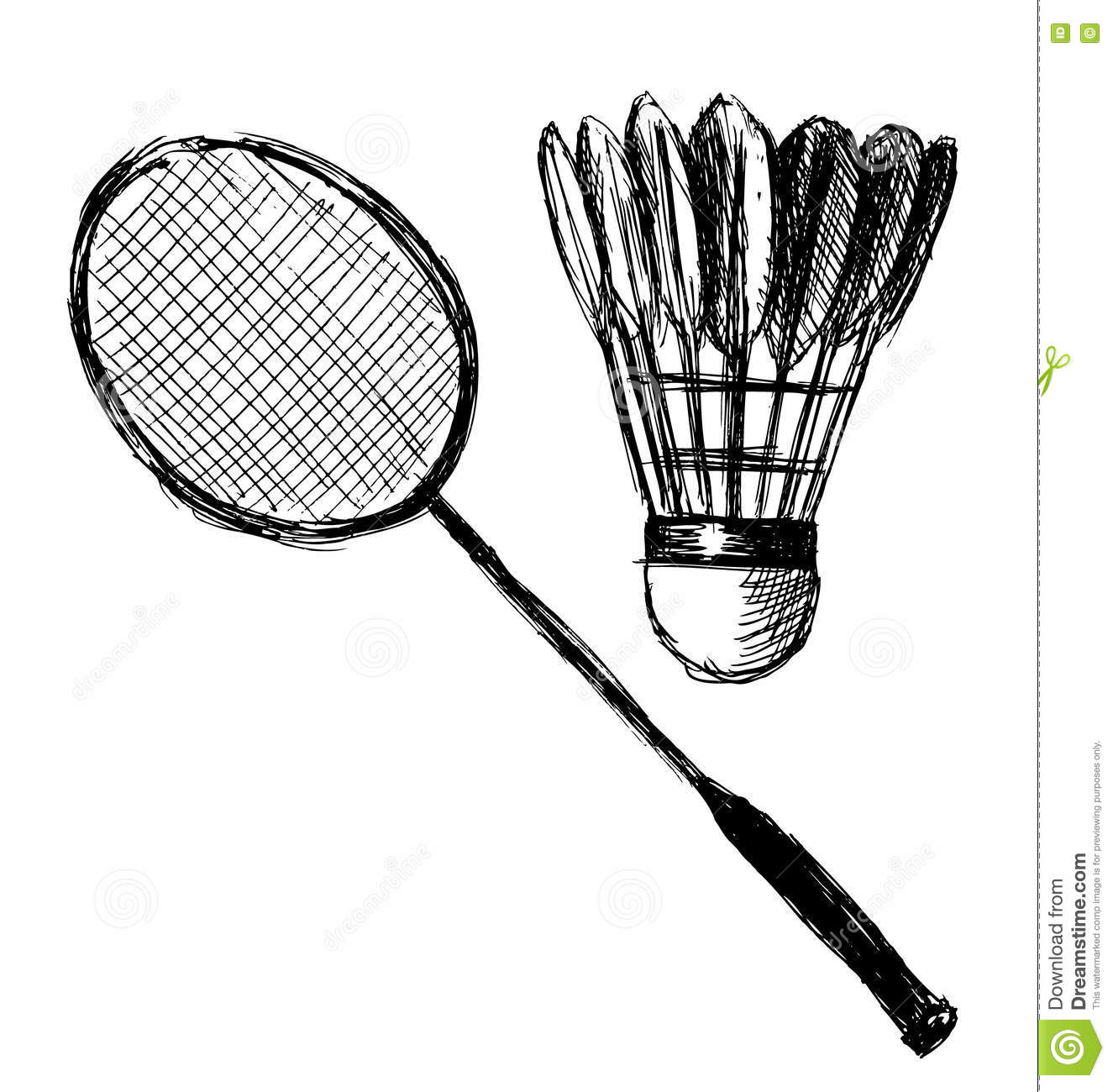 Hand Sketch Badminton Racket And Shuttlecock Stock Vector