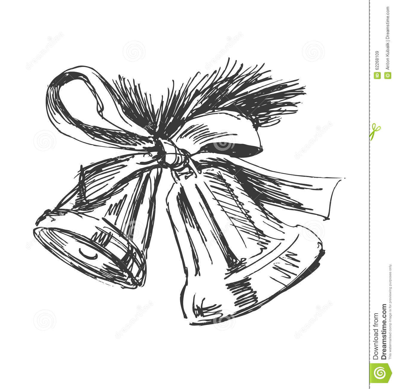 Hand Sketch Of Christmas Bells Stock Vector