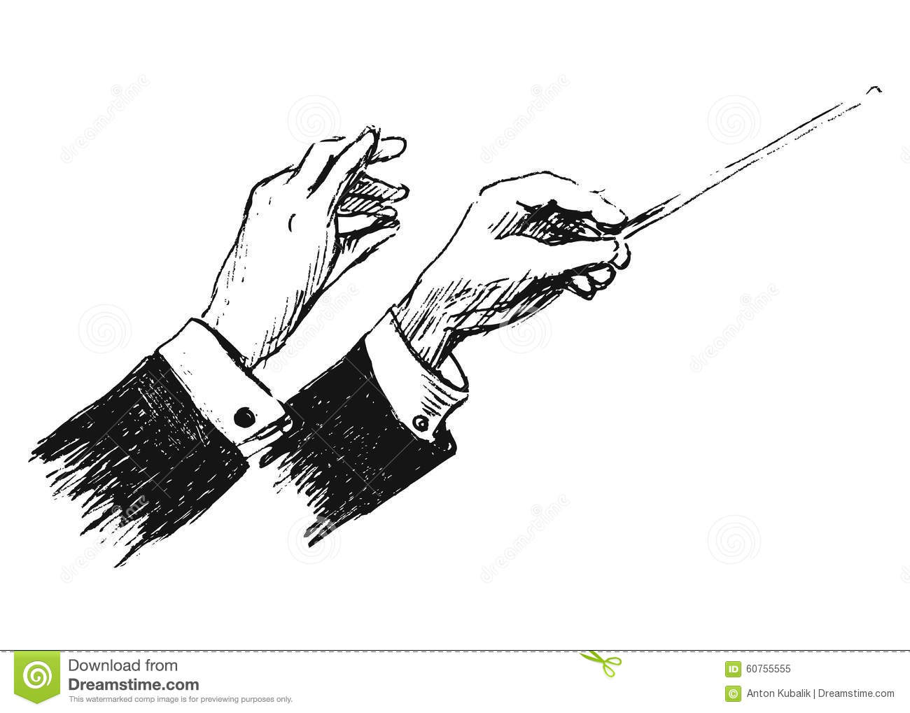 Hand Sketch The Hands Of Conductor Stock Vector