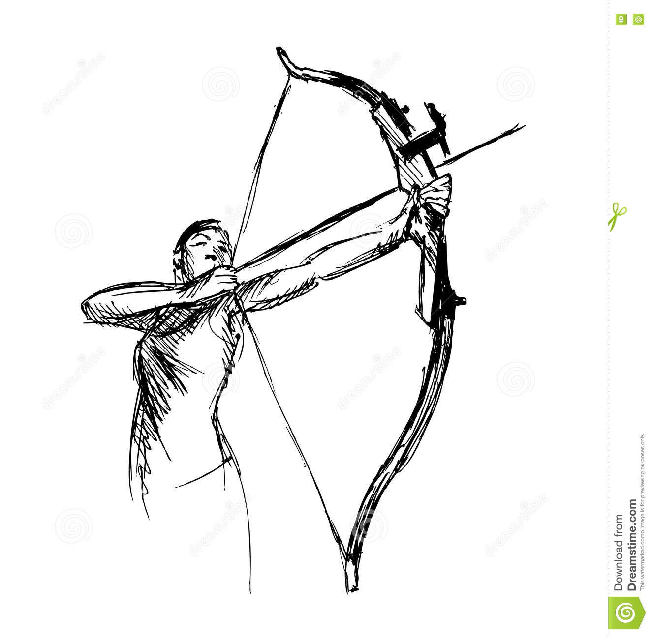 Hand Sketch Woman Shooting A Bow And Arrow Vector