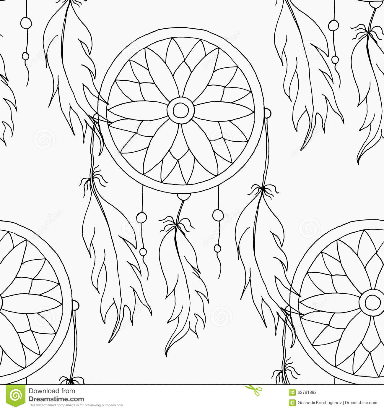 Hand To Draw A Seamless Pattern Dreamcatcher Stock Vector
