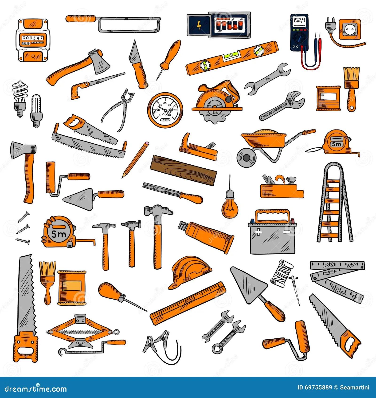 Hand Tools And Equipments Sketch Symbols Stock Vector