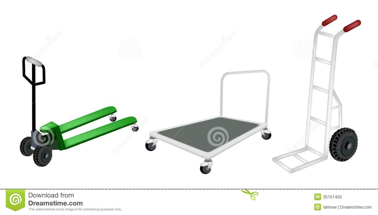 Hand Truck, Dolly And Pallet Truck On White Backgr Stock