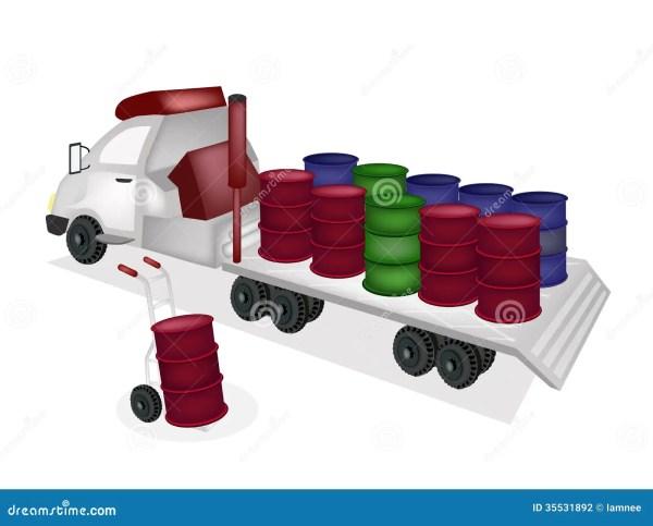 Hand Truck Loading Oil Barrels Tractor Traile Stock