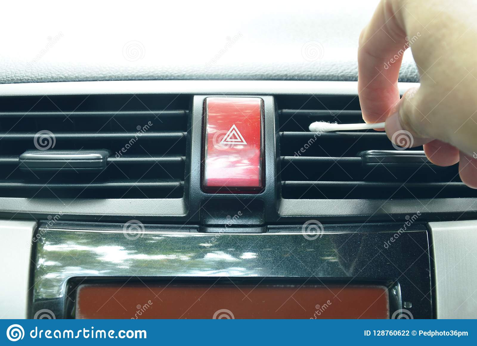 Hand Use Cotton Bud Cleaning Air Conditioner Hole In Car Stock Photo - Image of conditioner. automatic: 128760622