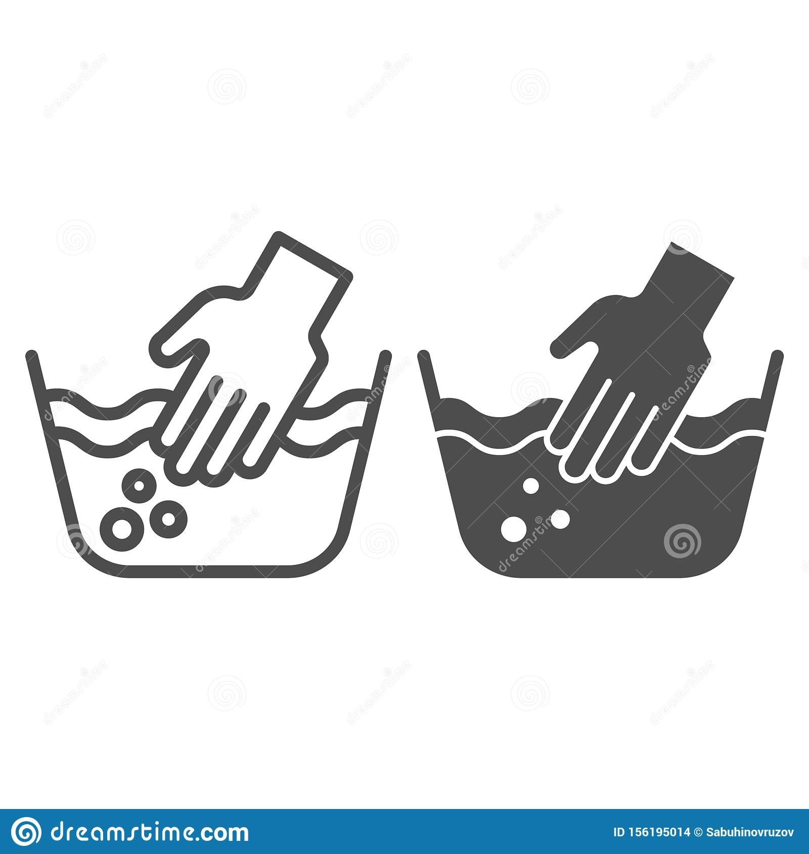Hand Washing Of Clothes Line And Glyph Icon Hands In