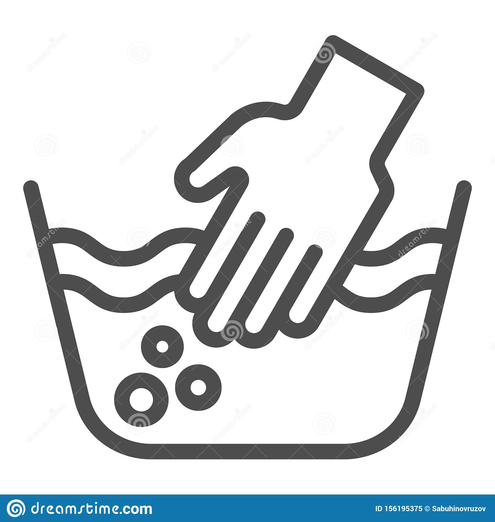 Hand Washing Of Clothes Line Icon Hands In Basin Vector