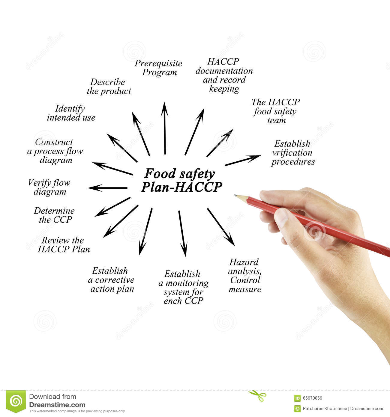 Download Hand Writing Element Of Food Safety Plan-Haccp For Business Conc  Stock Photo -