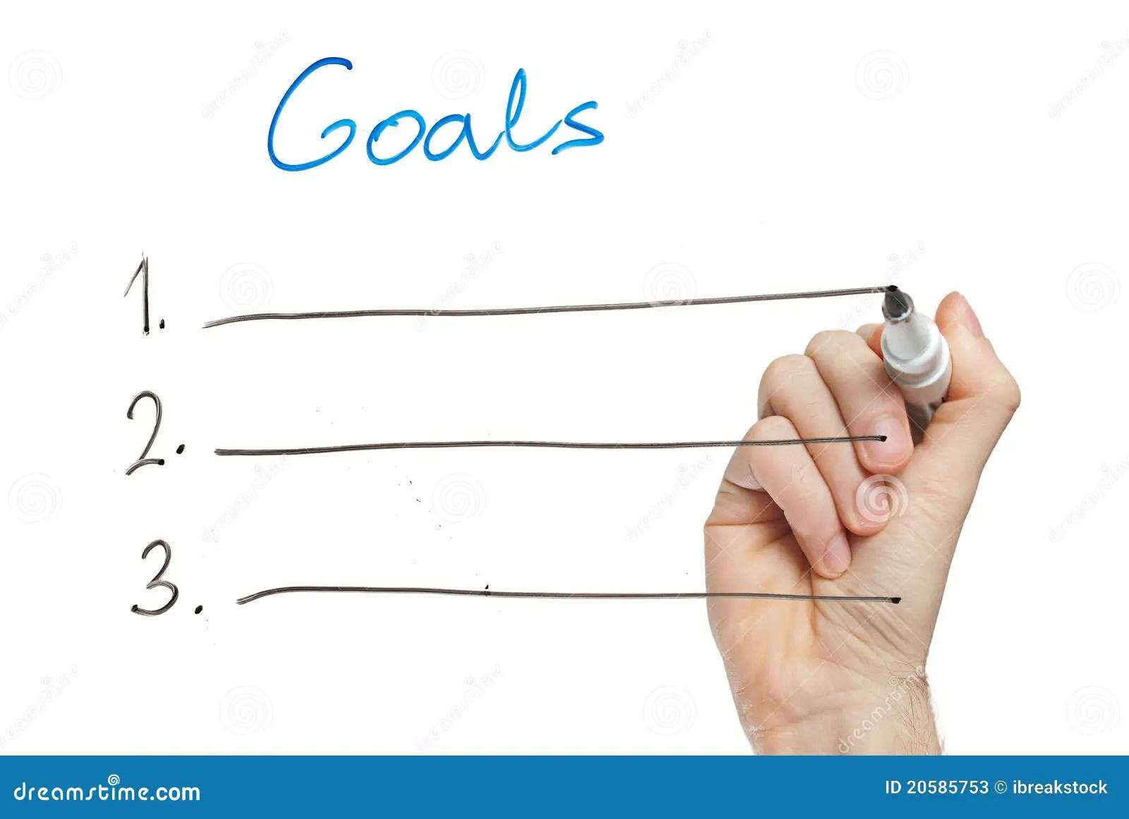 Hand Writing Goals On Whiteboard Stock Image