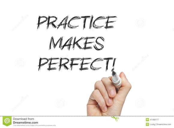 Hand Writing Practice Makes Perfect Stock Image - Image of ...