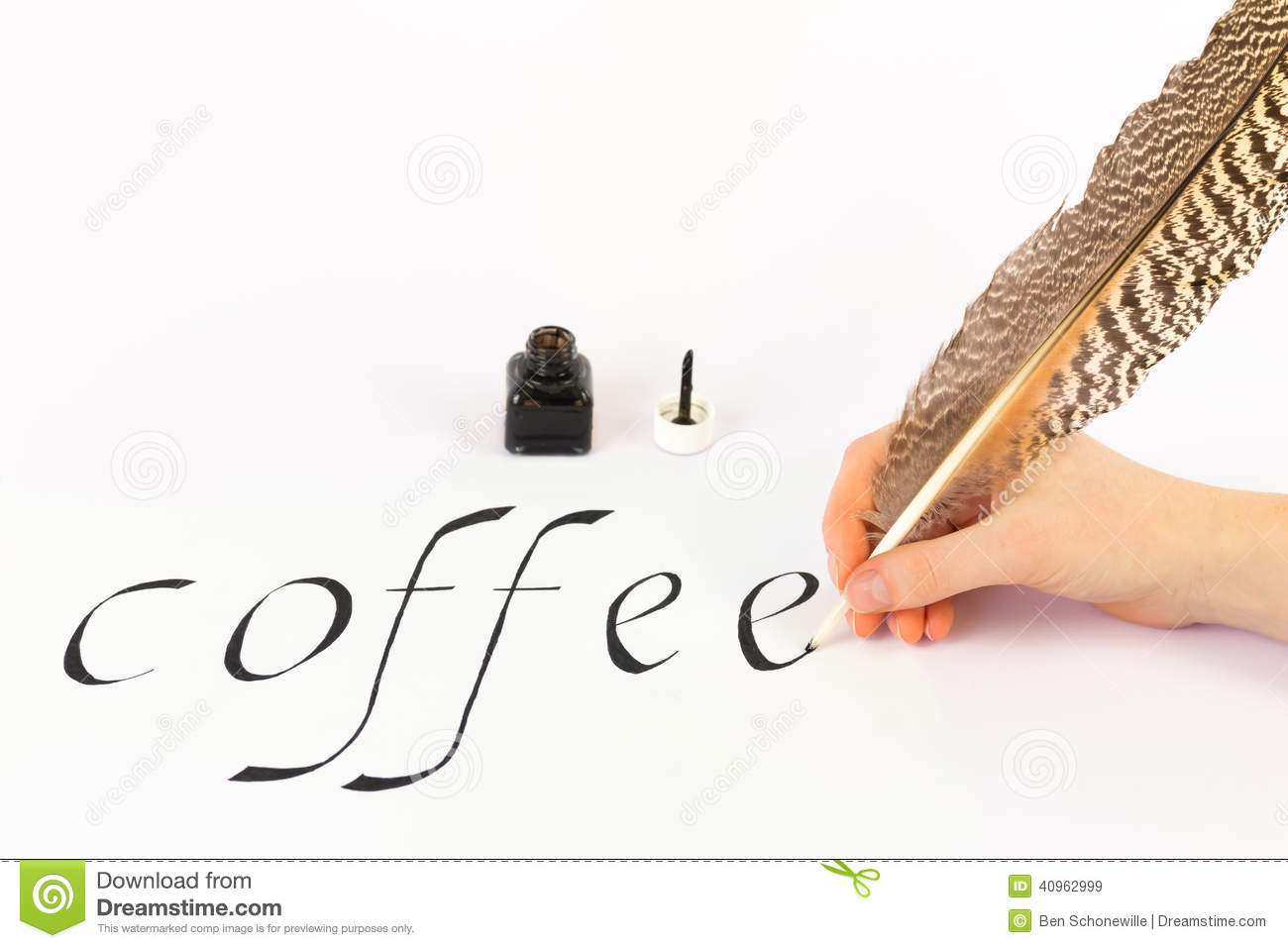 Hand Writing The Word Coffee With A Feather Stock Image