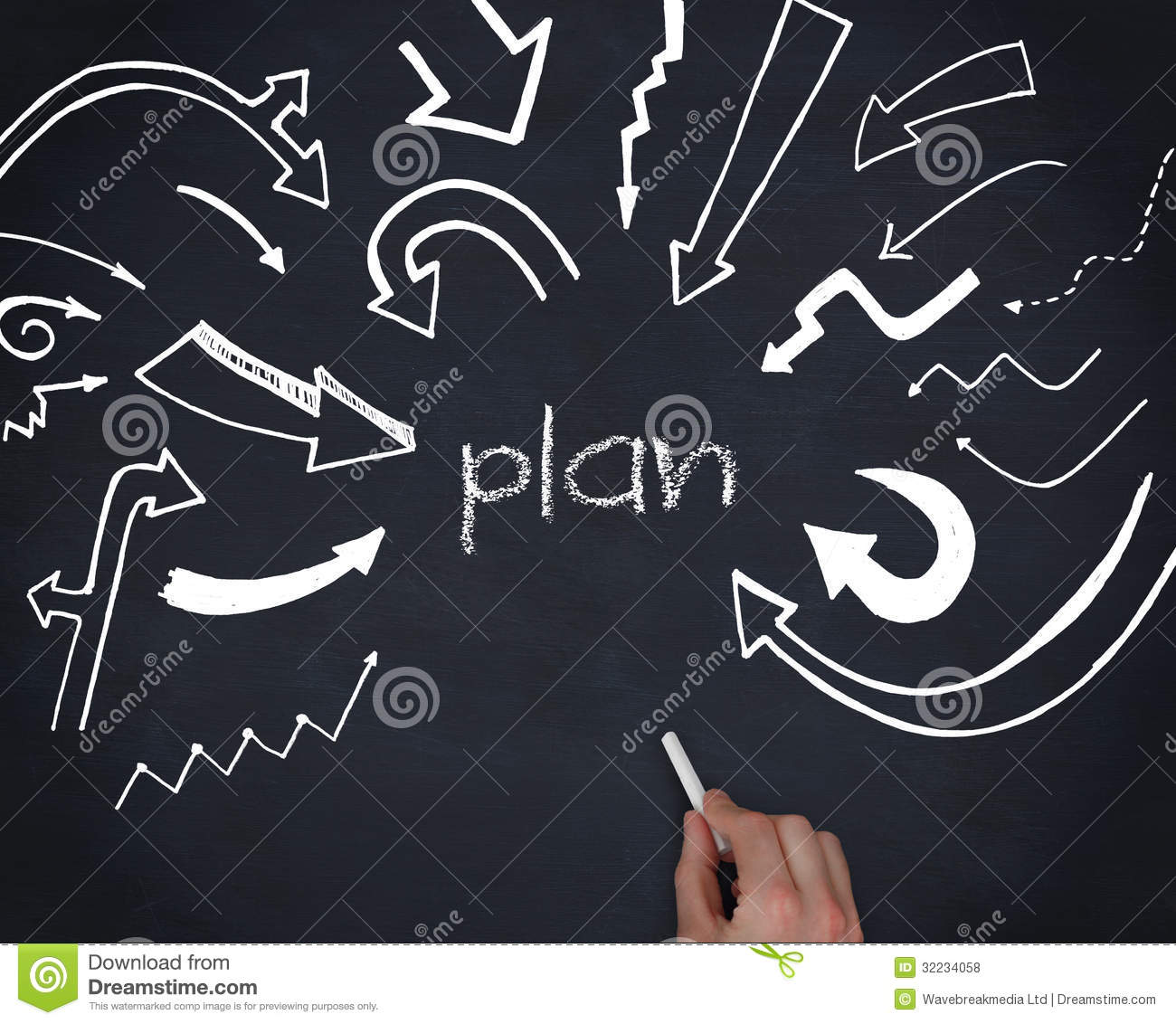 Hand Writing The Word Plan Royalty Free Stock Photos