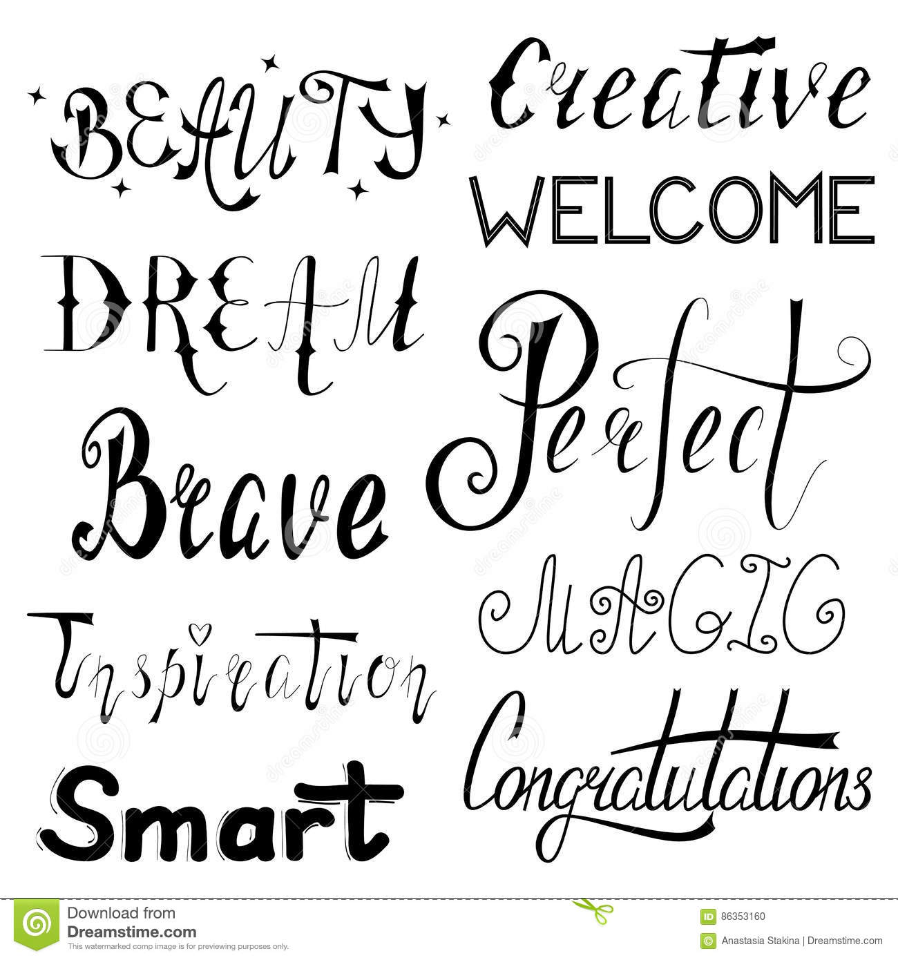 Poster Letter E And Different Words Cartoon Vector