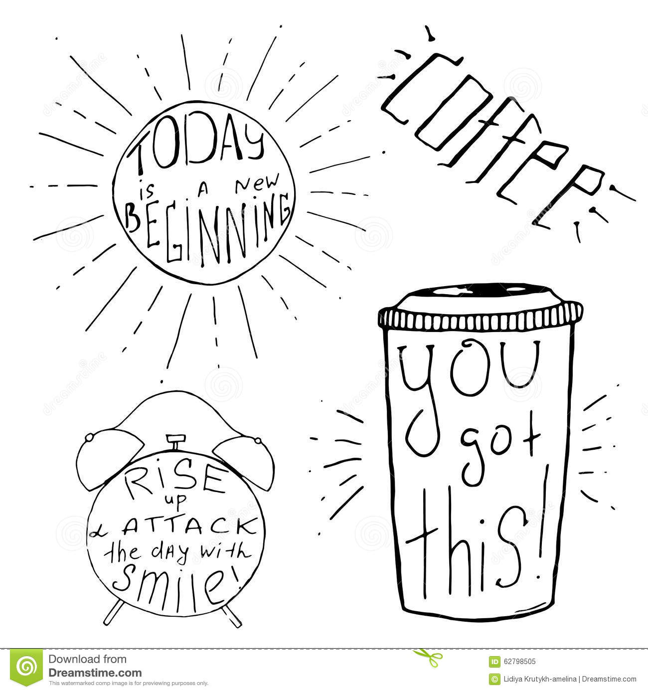 Handdrawn Inspirational And Motivational Quotes Set For
