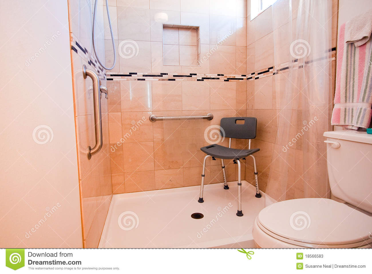 Handicap Shower Chairs Handicapped Shower Stall Stock Image Image Of Tiles