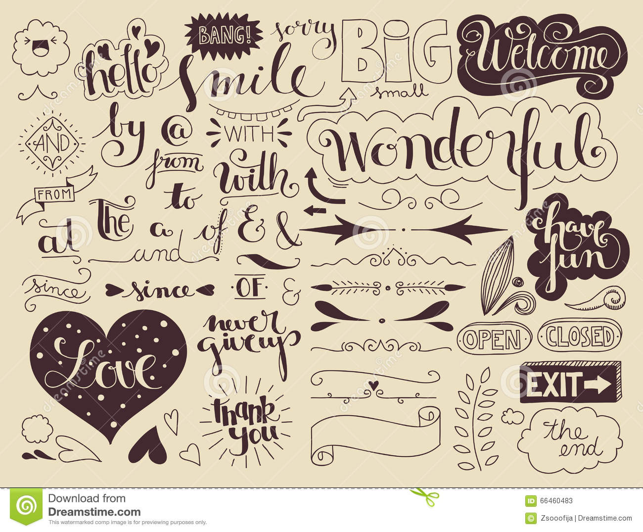 Handlettering Elements And Words Stock Vector