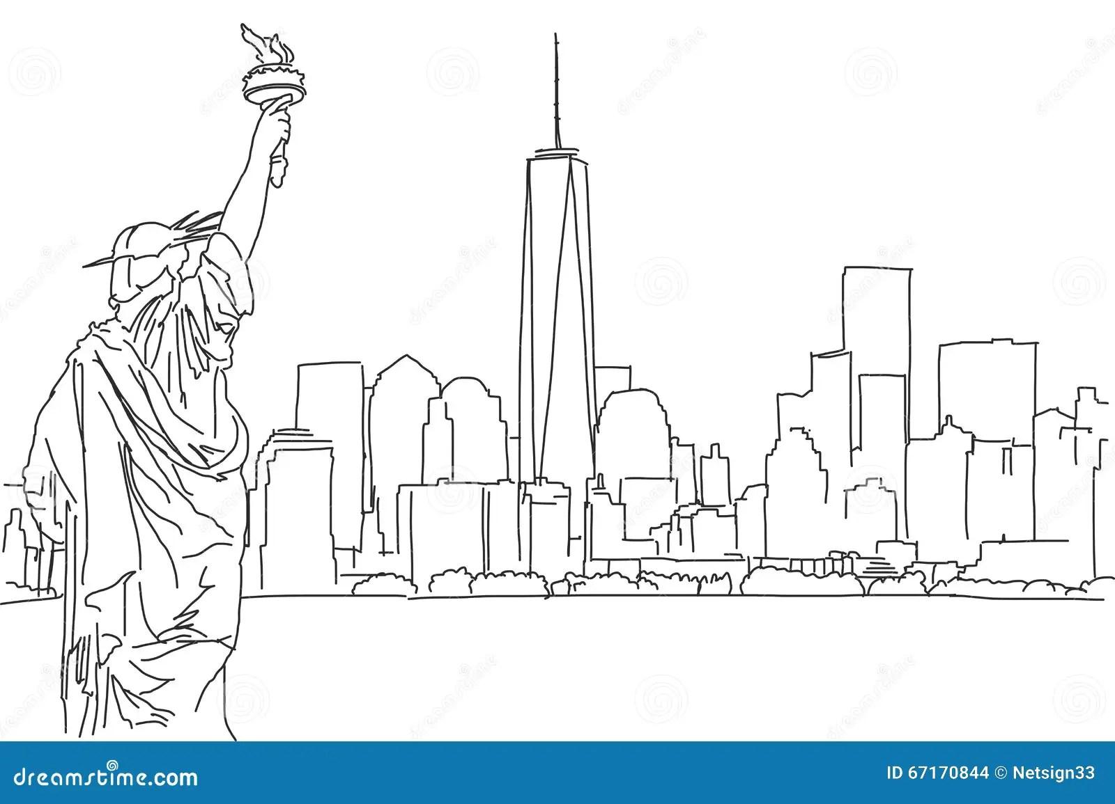 Handlungsfreiheitsskizze Von New York Cityskylinen Vektor