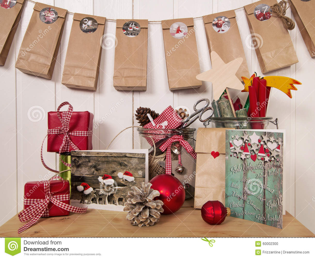 Handmade Christmas Presents And Advent Calendar In Red