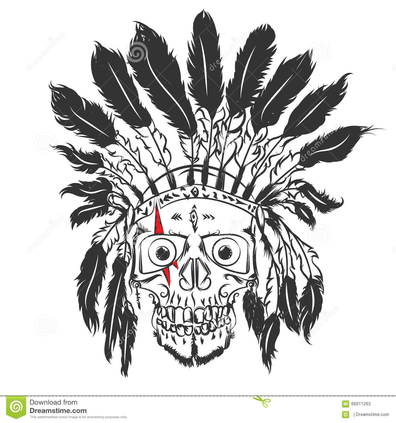 Handmade Drawning Skull With Indian Feather Hat Grunge