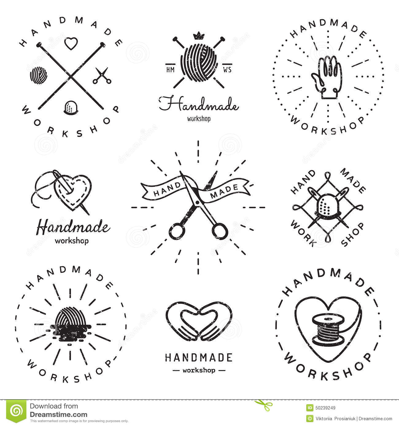 Handmade Workshop Logo Vintage Vector Set. Hipster And