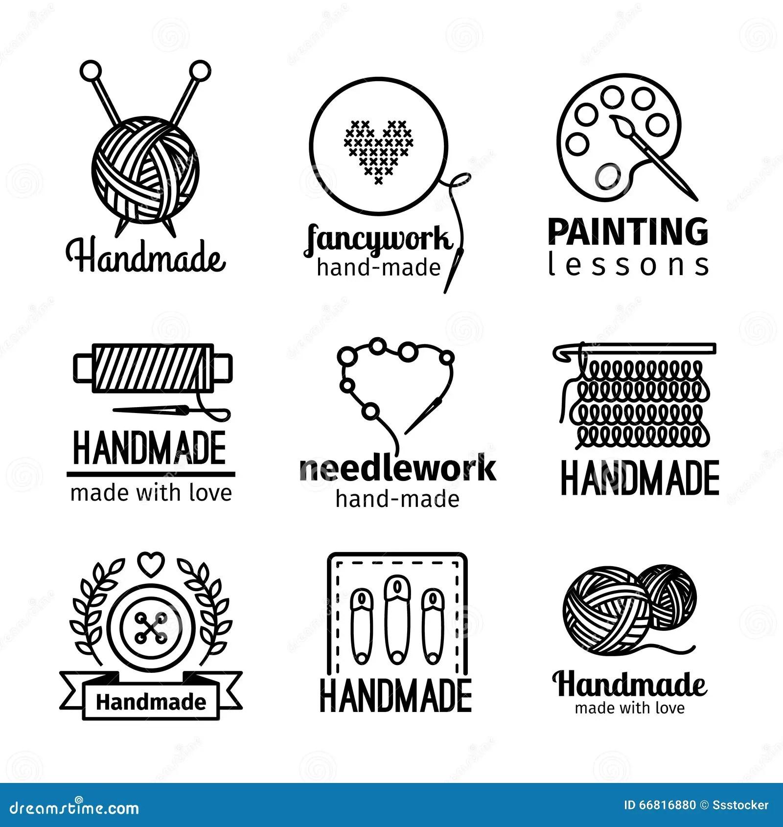 Handmade Workshop Thin Line Logo Set Stock Vector