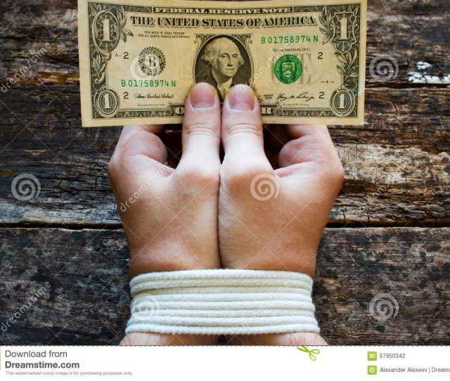 Hands Bound Men And Money In The Hands A Symbol Of Slavery
