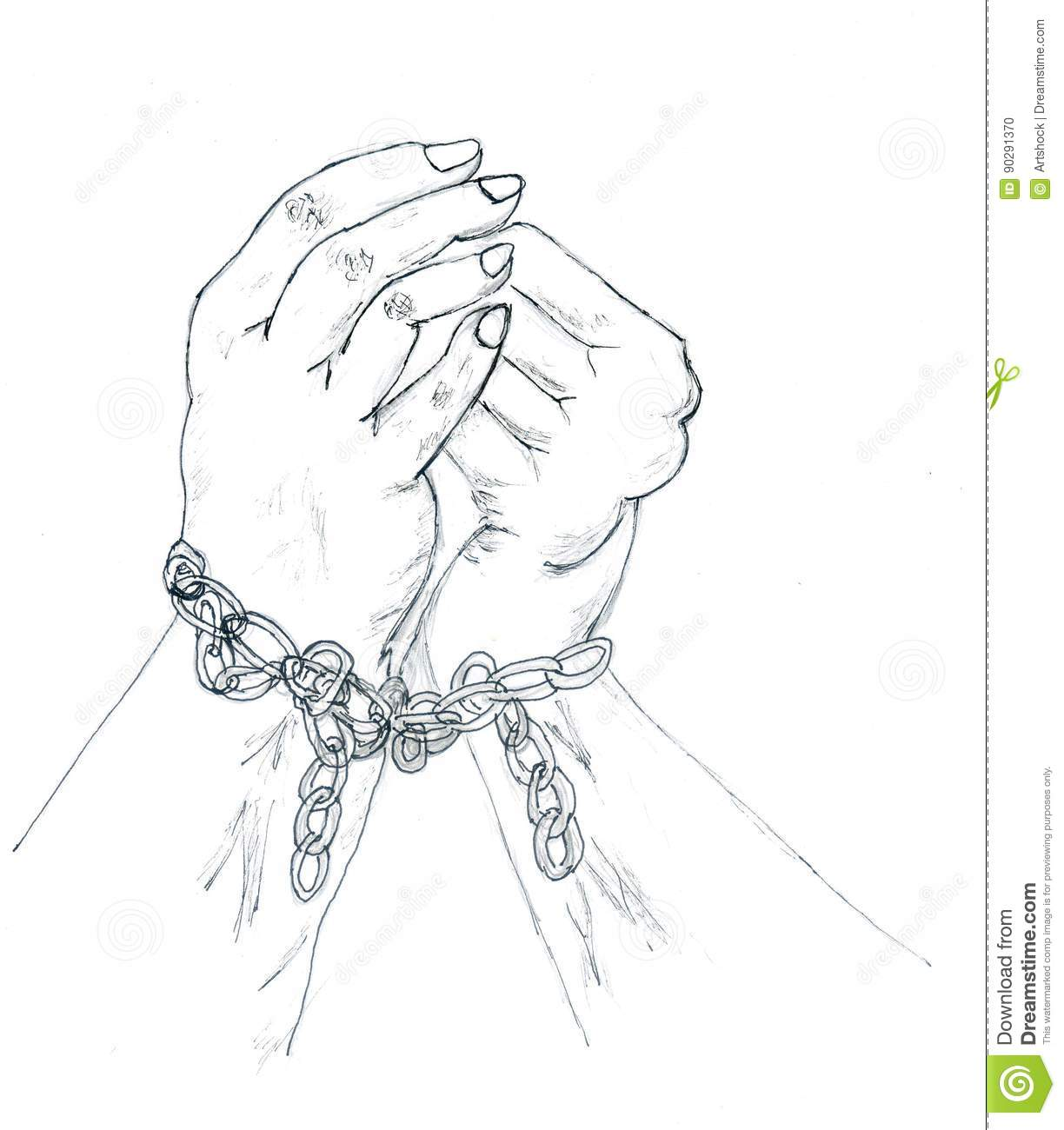 Slavery Chains Drawings Sketch Coloring Page