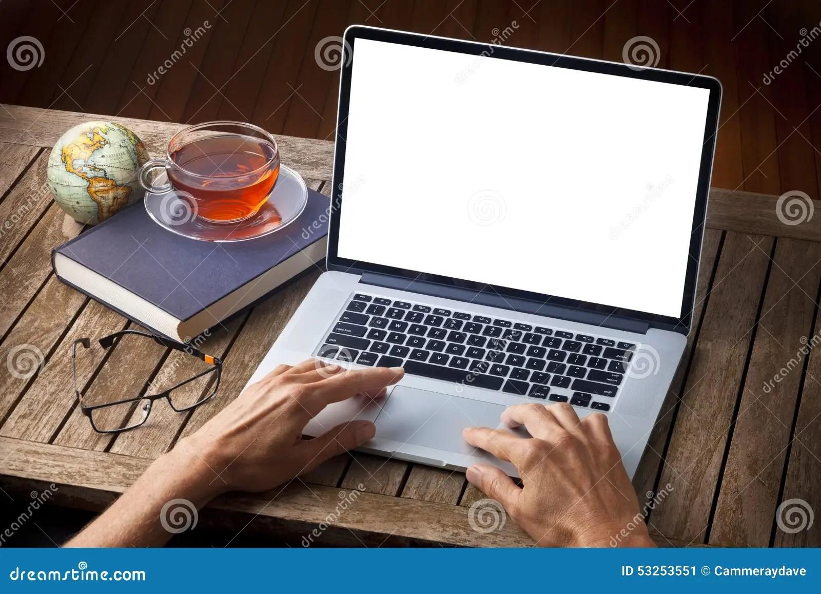 Hands Laptop Computer Desk Stock Photo  Image 53253551
