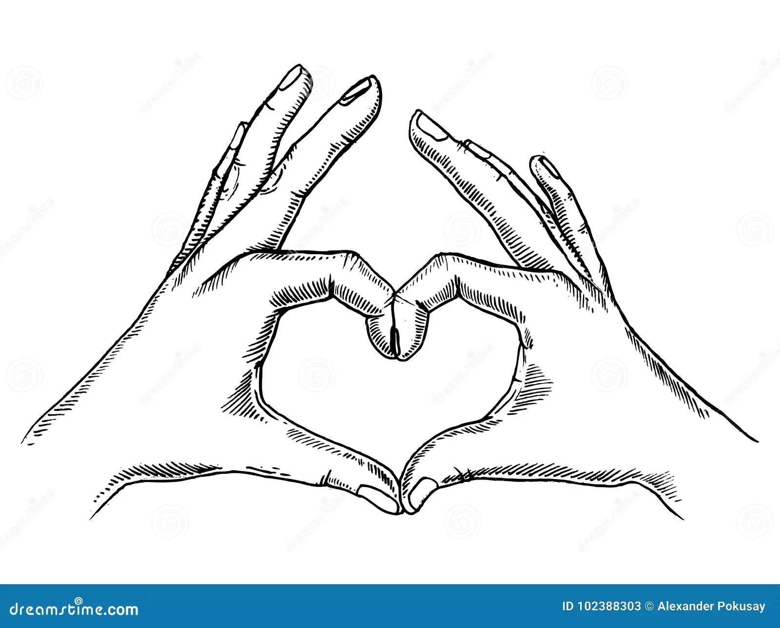 Hands Making Heart Sign Engraving Vector Stock Vector