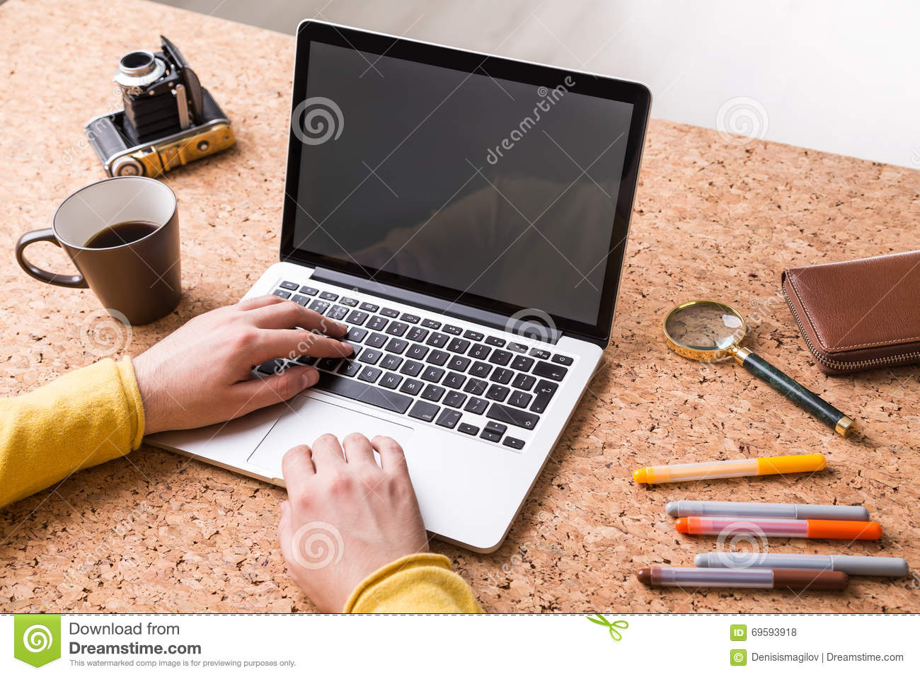 Hands Typing On Keyboard Stock Photo Image Of Glass