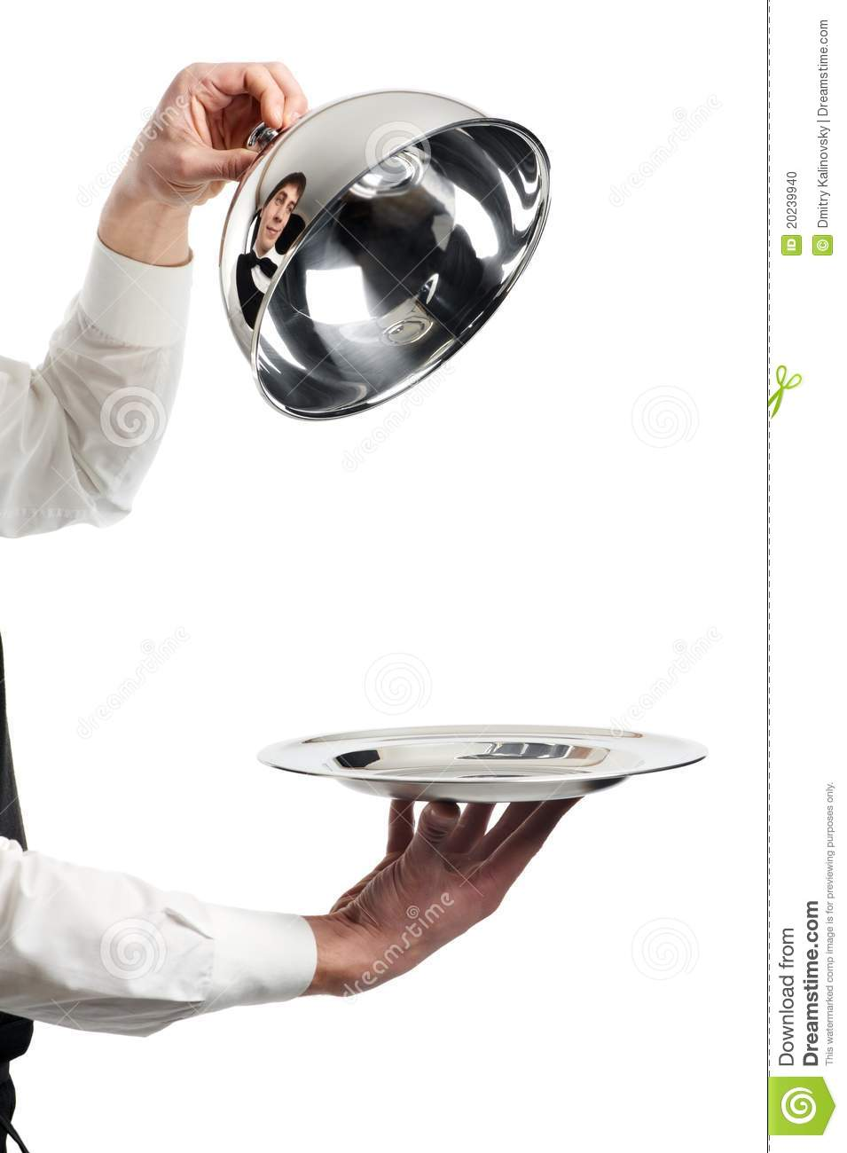 Hands Of Waiter With Cloche Lid Stock Photo  Image 20239940
