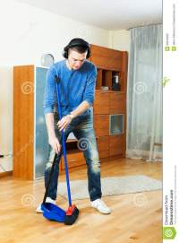 Handsome Man Cleaning Living Room Royalty Free Stock Photo ...