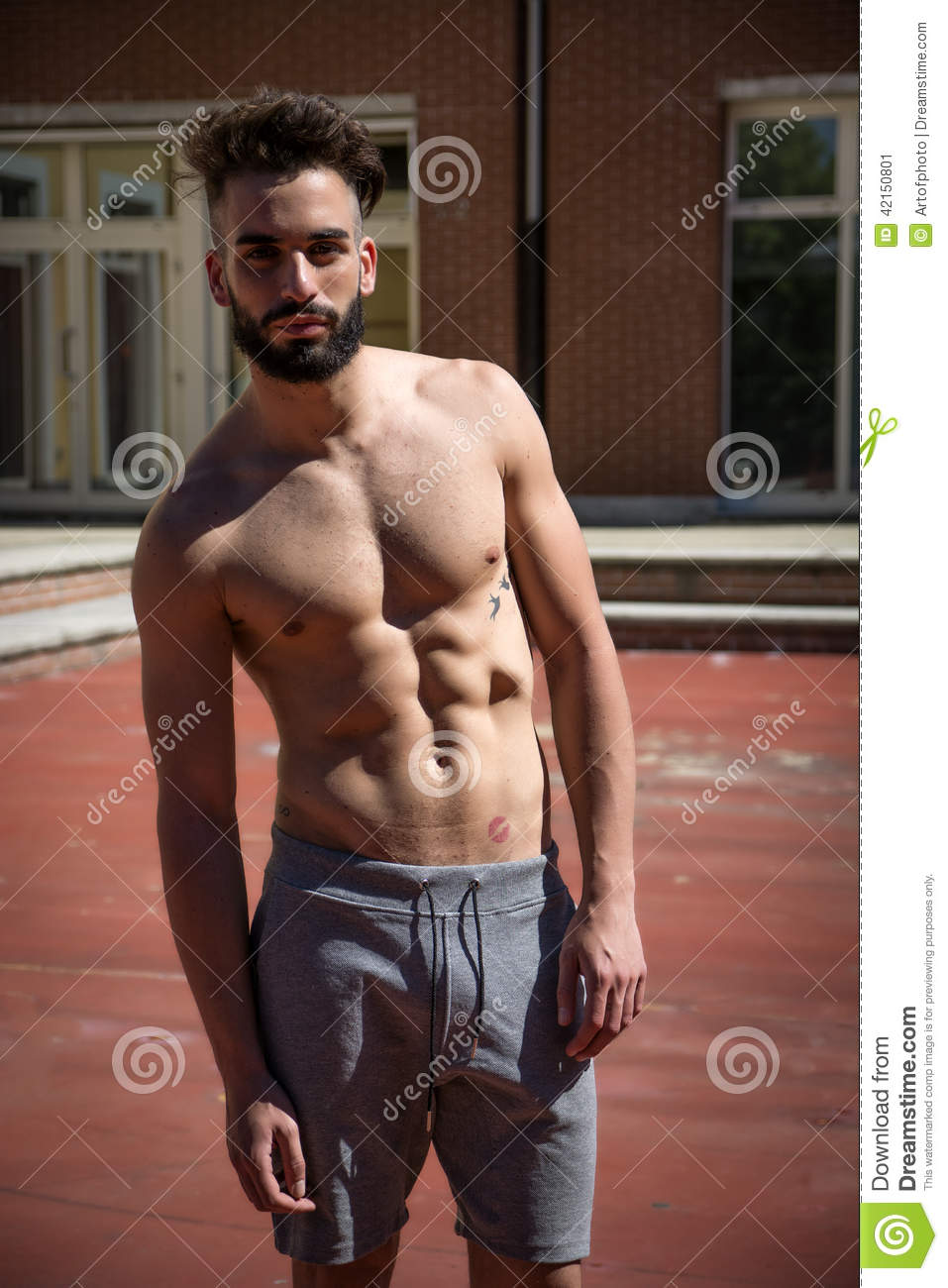 Handsome Shirtless Young Man With Beard Stock Image