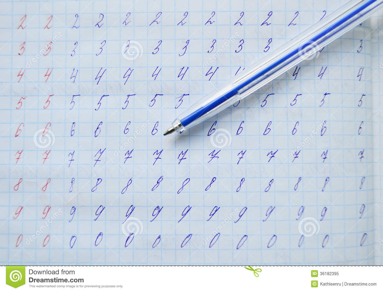 Handwriting Exercise In A Copy Book Stock Image