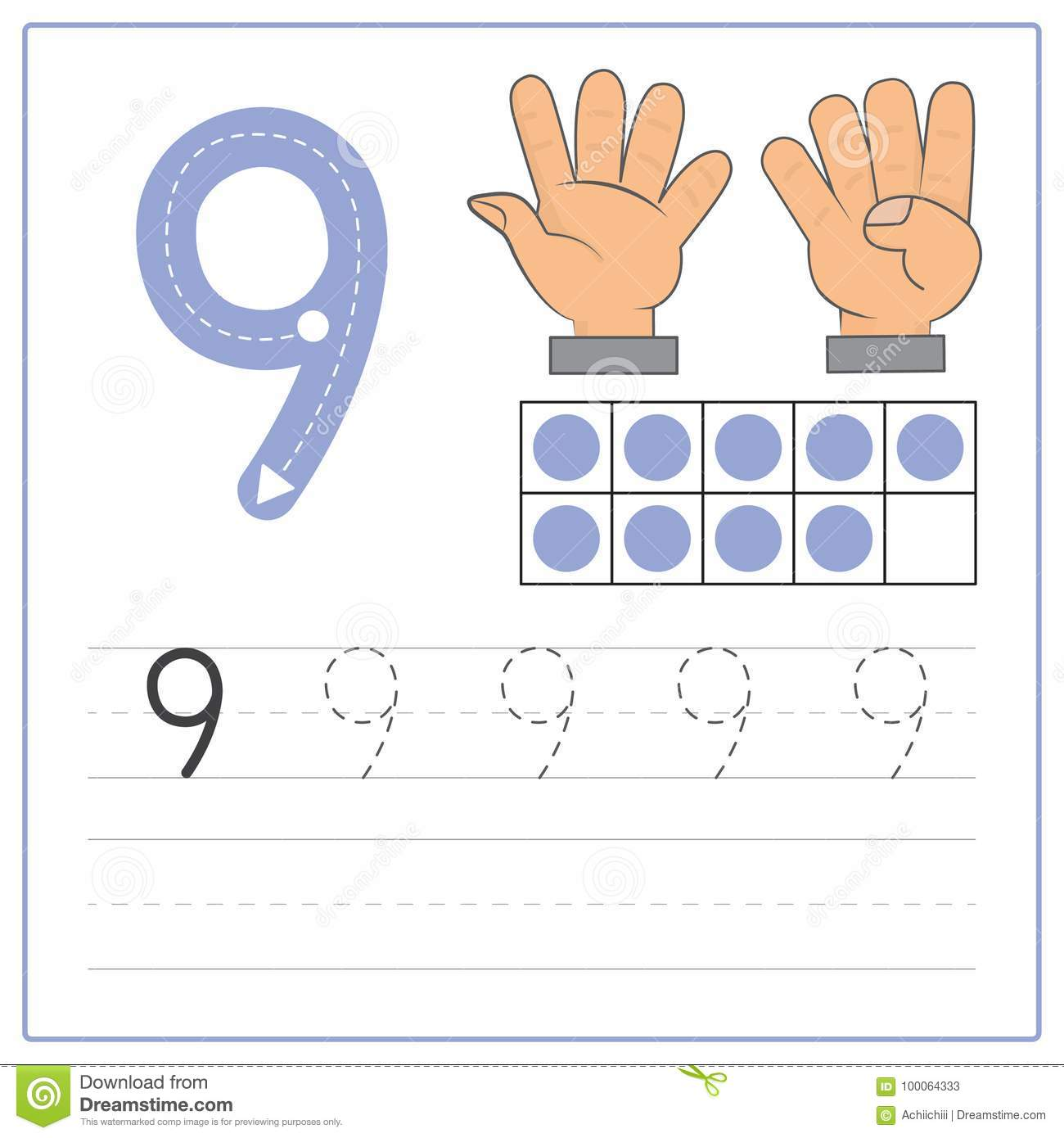 Number Writing Practice 9 Stock Vector Illustration Of Four