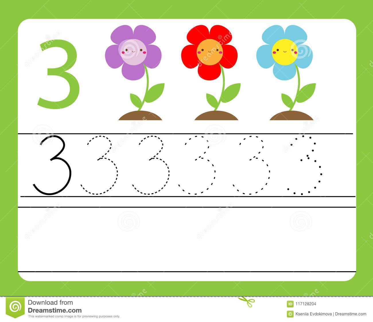 Handwriting Practice Learning Numbers With Cute Characters Number Three Educational Printable