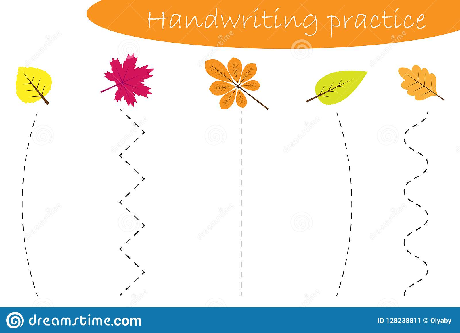 Handwriting Practice Sheet Autumn Fall Different Colorful Leaves Kids Preschool Activity