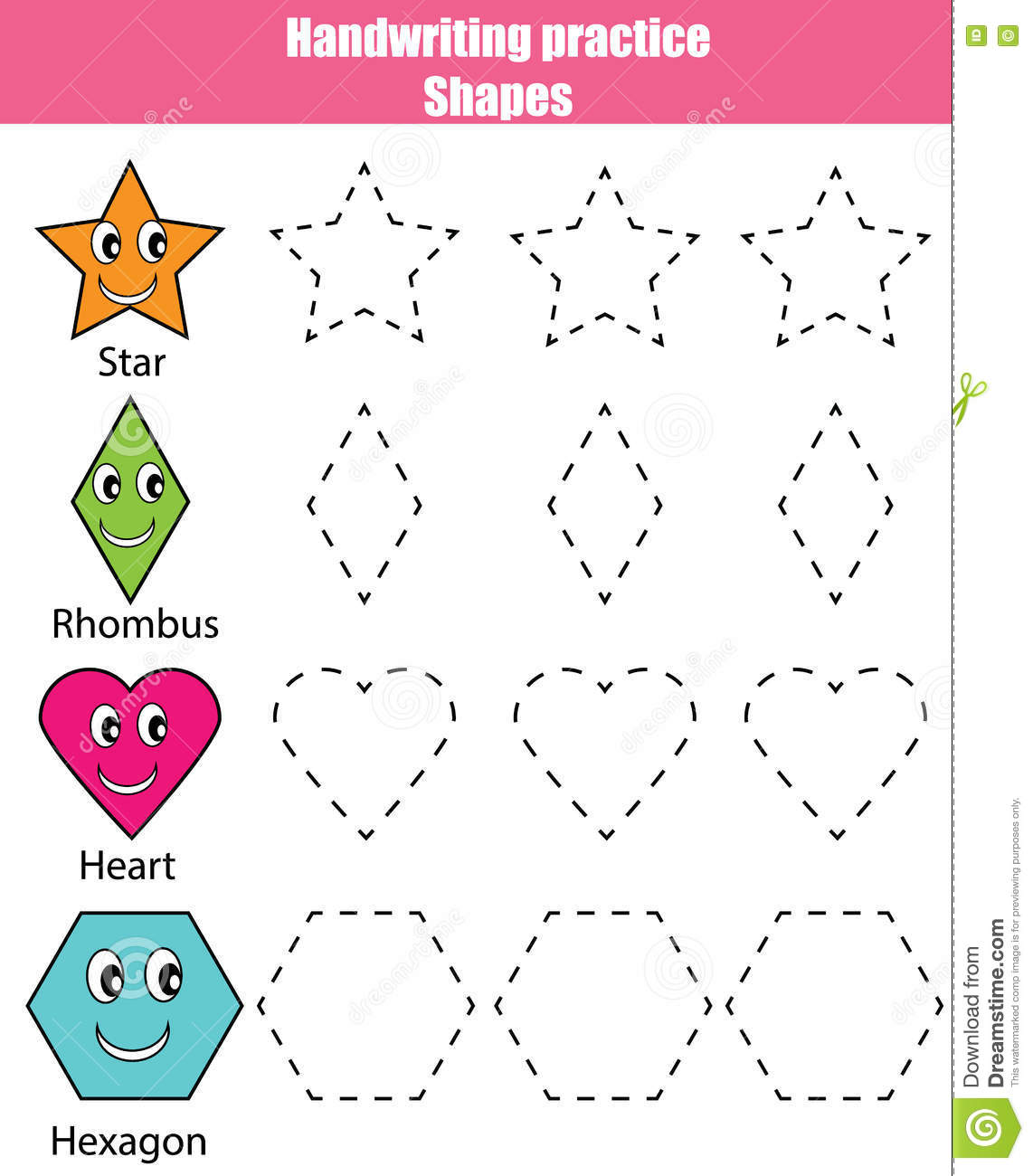 Handwriting Practice Sheet Educational Children Game Kids Activity Learning Shapes Printable