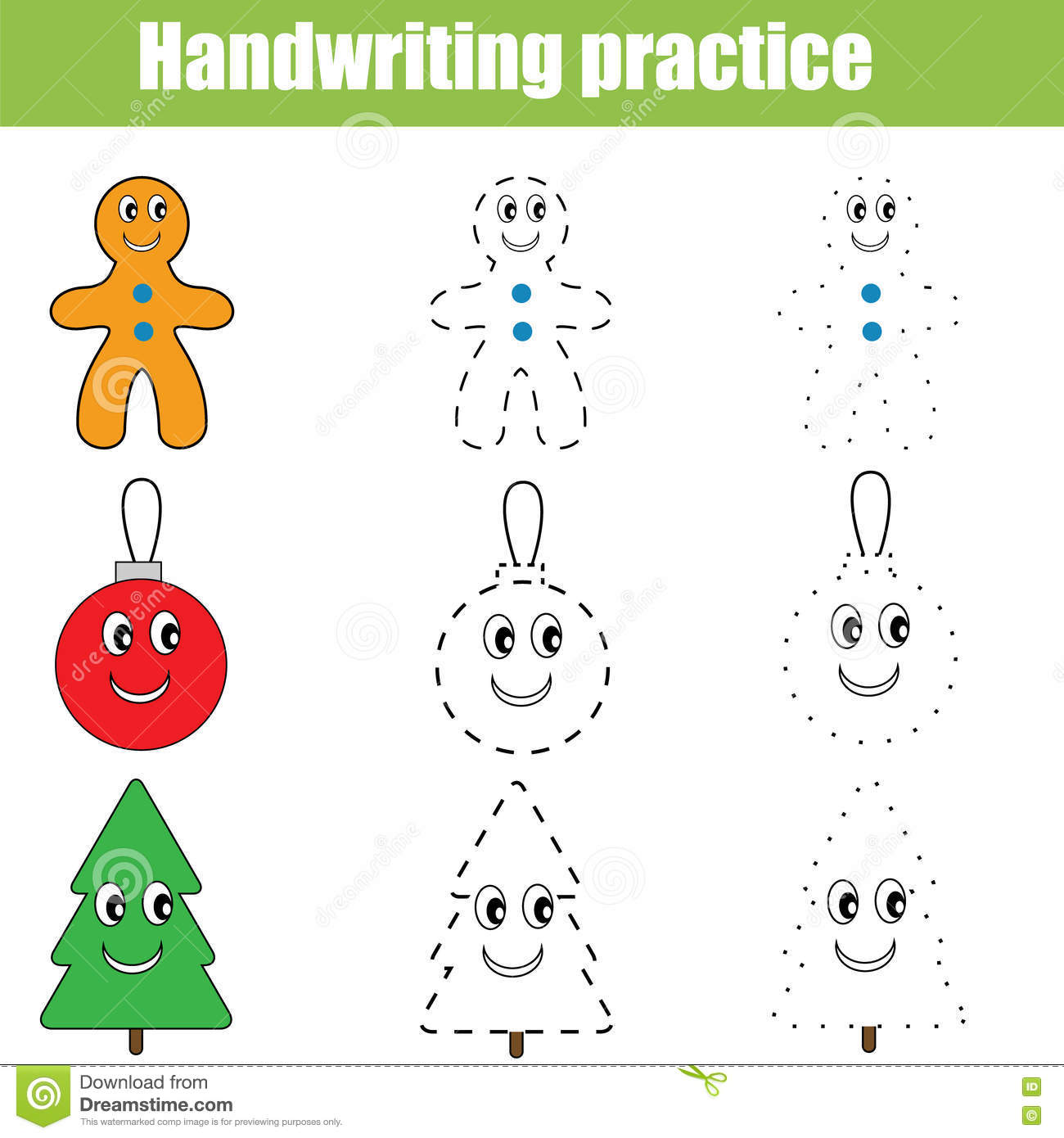 Handwriting Practice Sheet Educational Children Game Printable Worksheet Christmas Theme