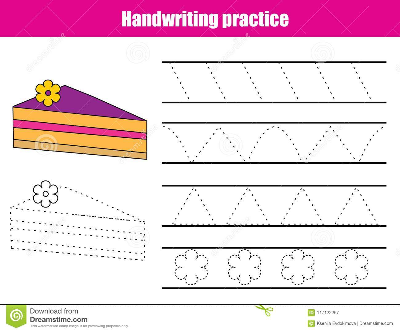 Handwriting Practice Sheet Educational Children Game Printable Worksheet For Kids Tracing
