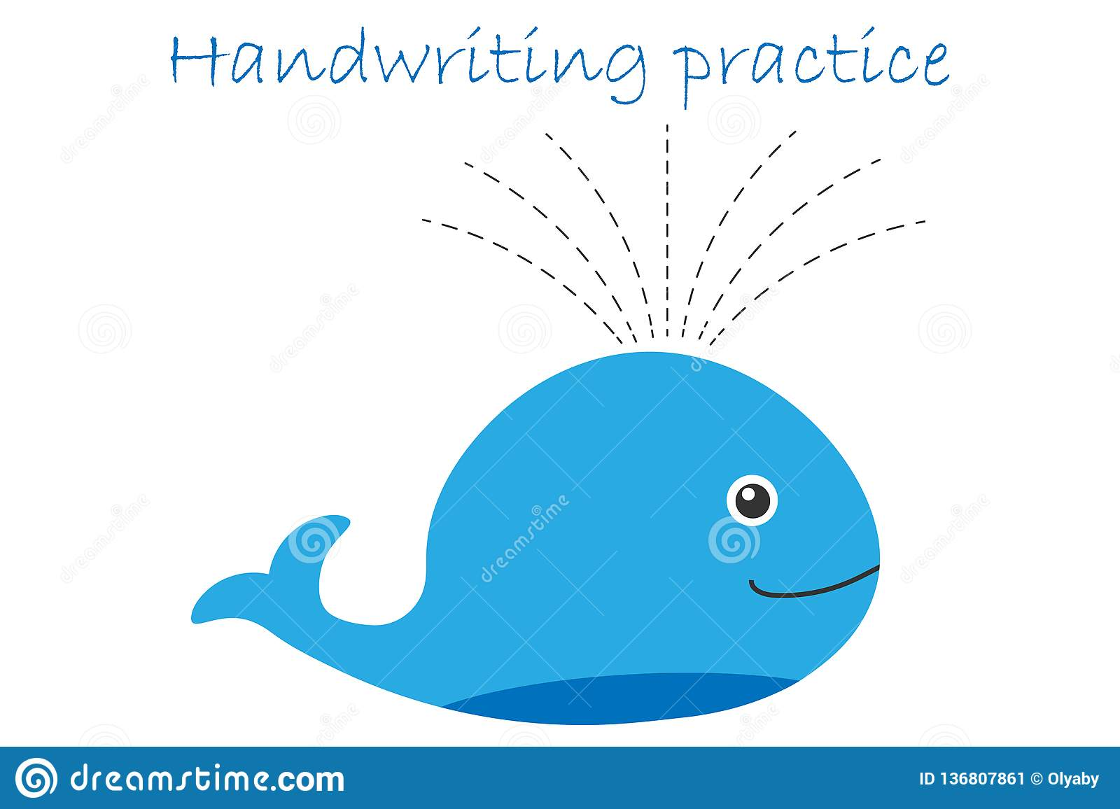 Handwriting Practice Sheet Whale In Cartoon Style Kids