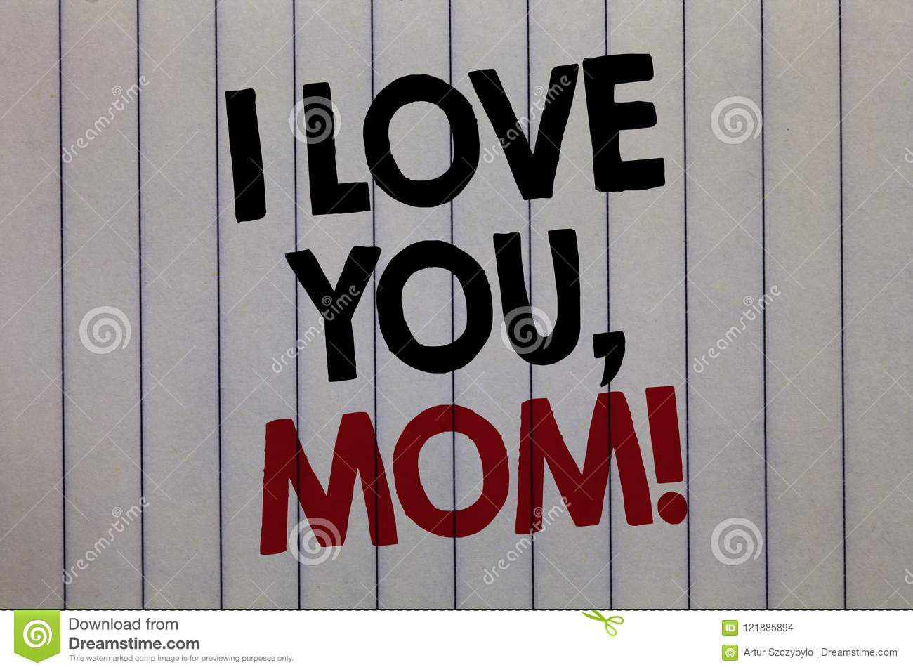 Handwriting Text Writing I Love You Mom Concept Meaning