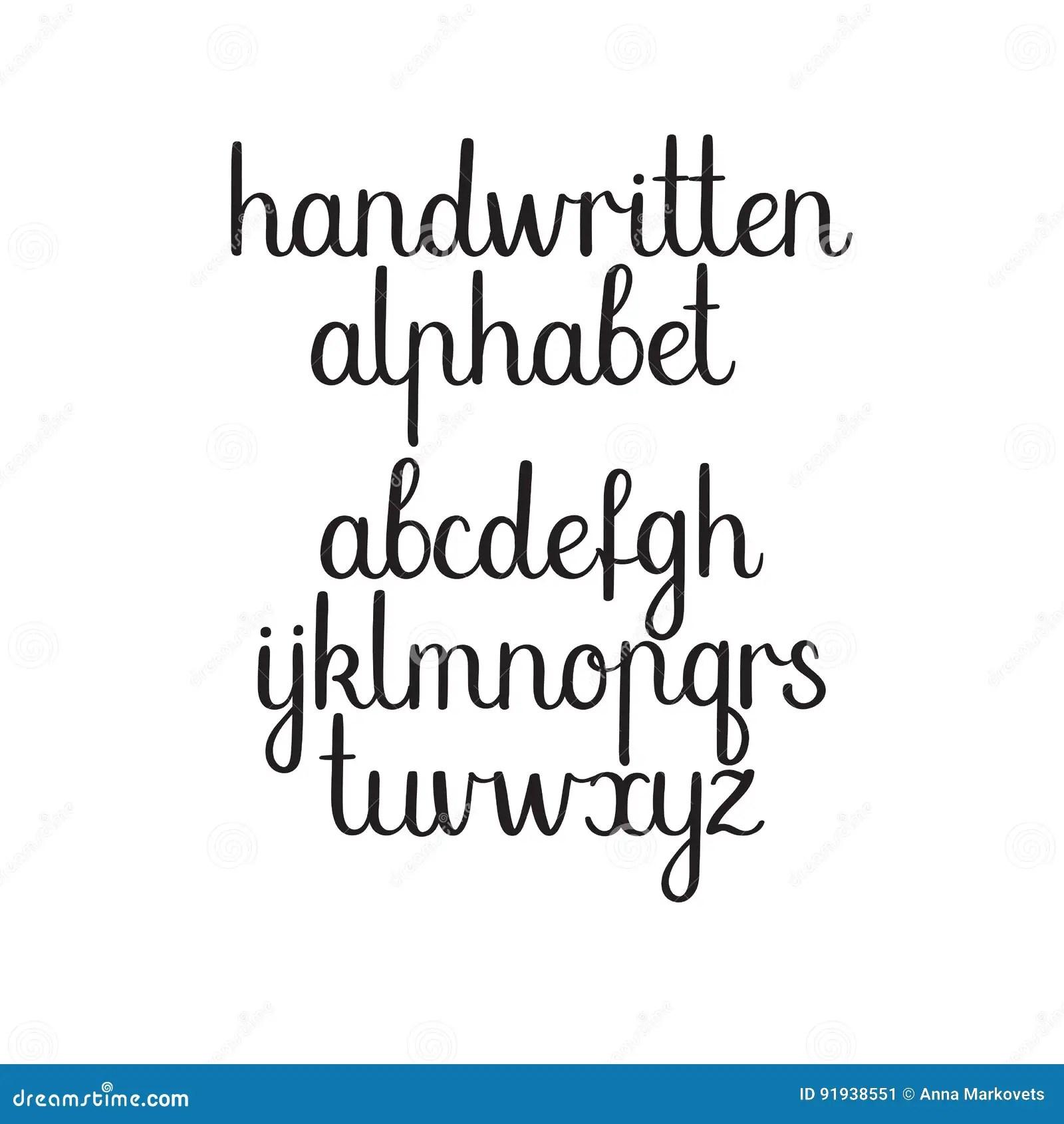 Handwritten Font Vector Abc Modern Calligraphy Alphabet