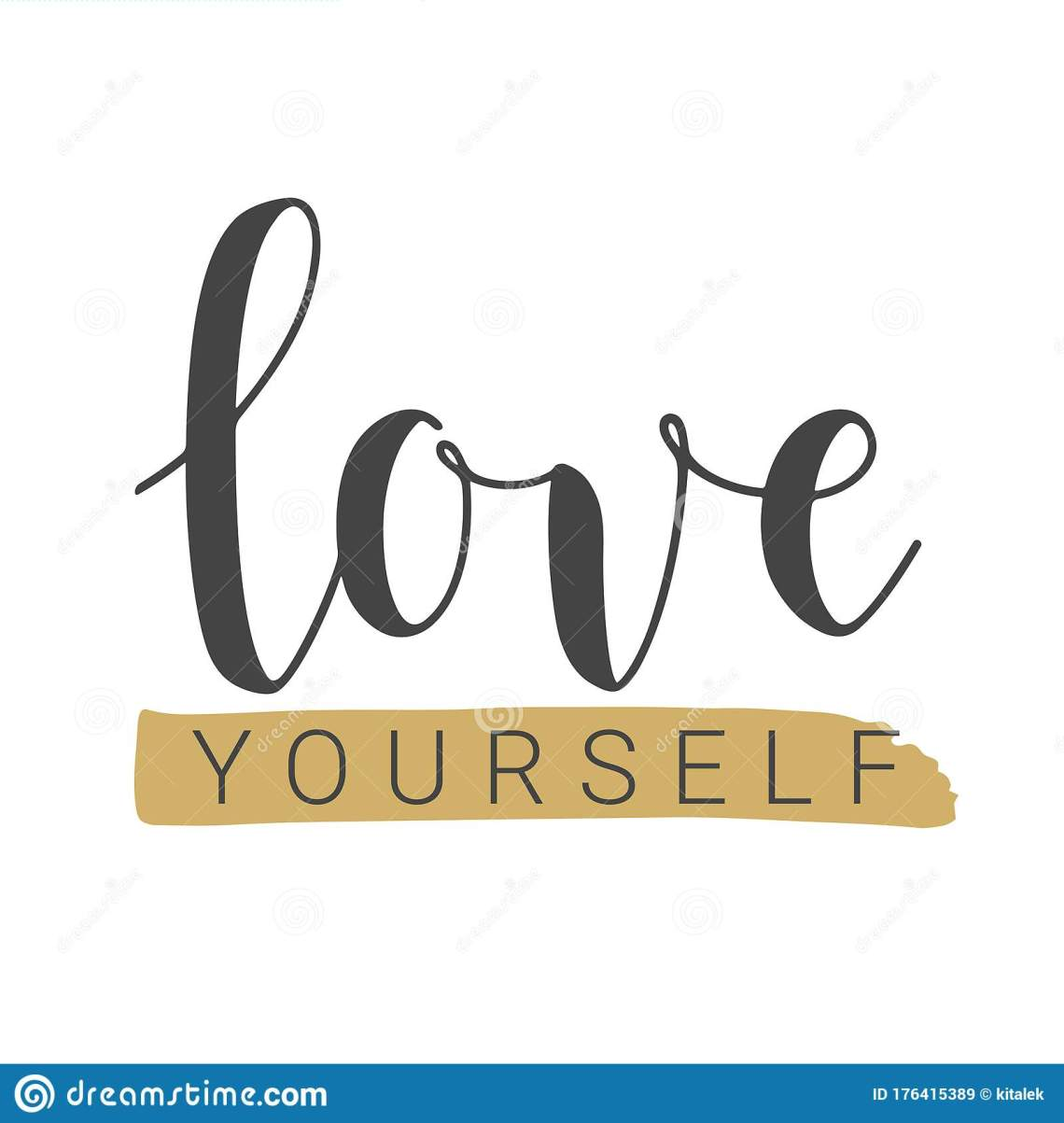 Download Handwritten Lettering Of Love Yourself On White Background ...